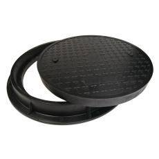 Lauridsen 600 mm karm/dæksel, rund, fast, 12,5 t, glasfiber