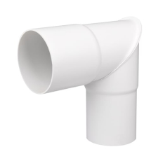 90 mm x 90° Knærør hvid Plastmo
