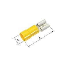Isolerede Spademuffe gul 4-6 mm² 6,3x0,8 mm A4607FLS