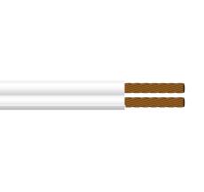 Ledning PVTU 2x0,38 hvid med mærkefinne S100