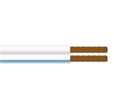 Ledning PVTU 2x0,38 lysegrå med blå stribe S100