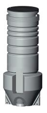 Grundfos 600 x 2000 x 50 mm PE-pumpebrønd t/sort m/SEG Stand