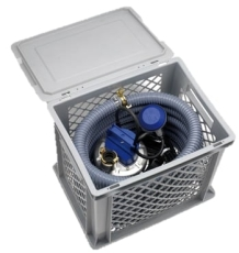Flygt multiboks med SXM 2 pumpe, lyn-kobling og PVC-slange,