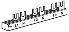 Gaffelsløjfeskinne 2P, 1 række, 12 (6) gafler L1+N, L2+N, L3