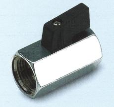Minikuglehane m/sort nylon greb. Hexagonal, forkromet, m/m