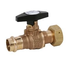 22 mm Rødgods pres ventil m/forskruning