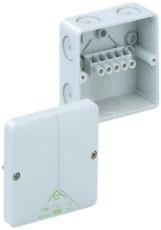 Forgreningsdåse Abox 040-4,0 med klemmer, 93 x 93 x 55 mm