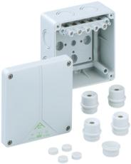 Forgreningsdåse Abox 060-6 med klemmer, 110 x 110 x 67 mm