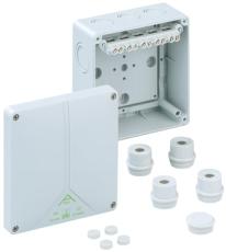 Forgreningsdåse Abox 100-10 med klemmer, 140 x 140 x 79 mm