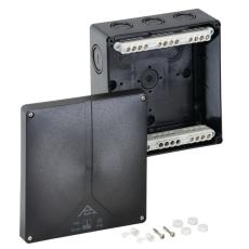 Forgreningsdåse Abox-i 160-16, 180x180x91 med klemmer, sort