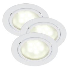 Mercur indbygning/påbygning spot kitsæt LED 3x1,2W hvid