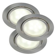 Mercur indbygning/påbygning spot kitsæt LED 3x1,2W børstet s