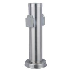 Power socket dobbelt udtag H:26 cm rustfrit stål