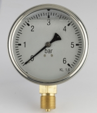 "Manometer Ø 63 mm ned, 1/4"", 0-16 barrf-hus m/glycerin, m/dæ"