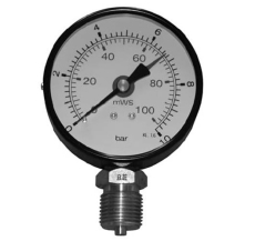 "1/2"" x 80 mm Manometer 0-0.6 bar/6MvS"