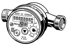 """Vvarmtvandsmåler Qn1,5 (Q3 2,5) 110mmx1/2"""" m/impuls 10L/imp"""