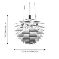 PH Artichoke Pendel 600 LED 2700K WB, b. stål