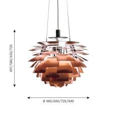 PH Artichoke Pendel 600 LED 2700K WB, kobber