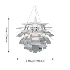PH Artichoke Pendel 600 LED 2700K WB, pol. stål