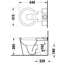 Starck 1 toilet back-to-wall, wondergliss