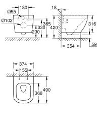 Euro keramik Væghængt kompakt WC Til indbygget cisterne