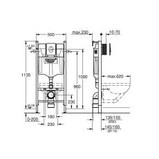 Rapid SL indbygningscisterne Projekt 113 cm, hvid trykplade