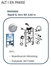 Rapid SL 3i1 WC 0,82m  Inkl.Skandinavisk tilslutning/trykpla