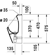 D-code urinal med dyse tilslutning fra oven