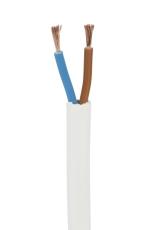 Ledning H03VVH2-F Flad 2x0,75 hvid, 5 meter