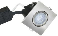 Downlight Uni Install GU10 5W 2700K, firkantet, børstet alu