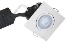 Downlight Uni Install GU10 5W 3000K, firkantet, mat hvid