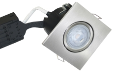 Downlight Uni Install GU10 5W 3000K, firkantet, børstet alu