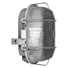 Skotlampe oval med gitter E27 (max 100W) grå IP44 50500