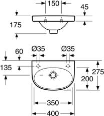 GBG 5540 Nautic håndvask 400 x 275 mm med hanehul til venstr