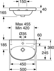GBG 5550 Nautic håndvask 50x38 montering på bolte eller bæri