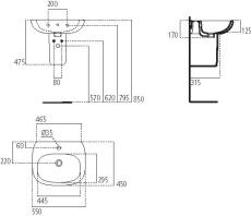 IS Tesi håndvask 550mm m/hanehul og overløb