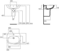 IS Tesi håndvask 600mm m/hanehul og overløb