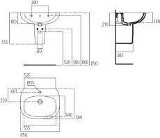 IS Tesi håndvask 650mm m/hanehul og overløb