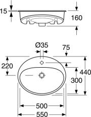 GBG 5555 Nautic oval nedfældningsvask 550 x 440 mm