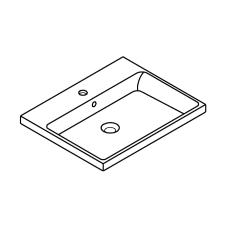 Cube Ceramic Håndvask 60 indbygget med overløb 605 x 490 mm