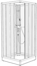 Ifö Solid kabineoverd./forrest SKH VS99 90 x 90 cm hvid/scre
