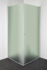 Ret hjørne 90x90x195cm isglas, blank aluprofil