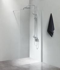Fritstående væg 90x200cm klart glas, med 100cm forhængsstang