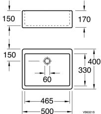Rengøringsvask 40 x 50 cm til bordmontering