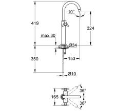 Atrio håndvaskbatteri med bundventil