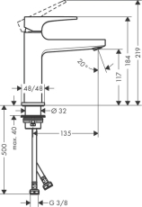 hansgrohe Metropol 110 håndvaskarmatur m/push-open ventil
