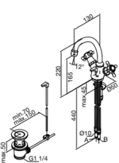 Damixa Tradition håndvaskbatteri med keramisk regulering bv,
