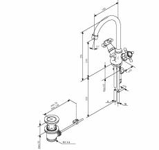 Damixa Tradition håndvaskbatteri med bundventil