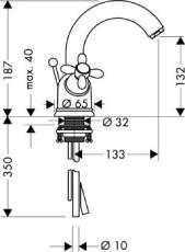 Axor Carlton 2-G HV med svingtud krom