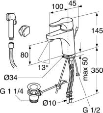 GBG Nautic håndvaskarmatur løftop bundventil og håndbruser k